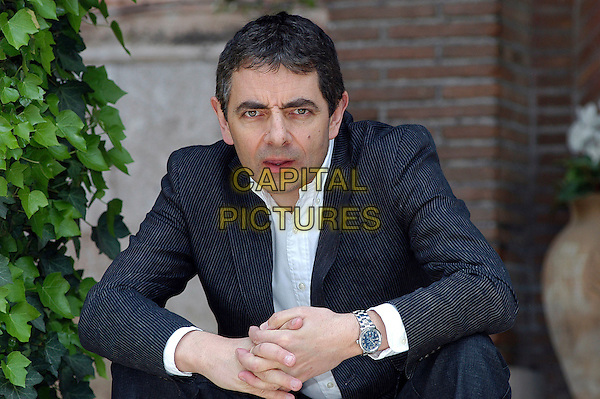 "ROWAN ATKINSON.Photocall for his new film  ""Mr. Bean's Holiday"".Villa del cedro, Rome, Italy, 3rd April 2007..half length grey suit white shirt .CAP/CAV.©Luca Cavallari/Capital Pictures."
