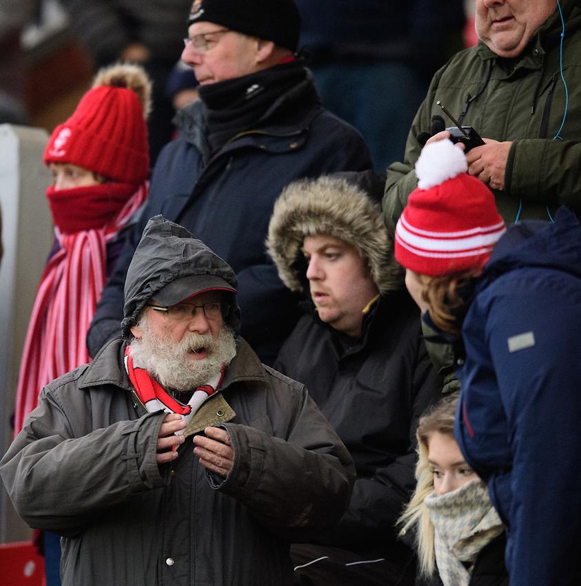 Lincoln City fans enjoy the pre-match atmosphere<br /> <br /> Photographer Chris Vaughan/CameraSport<br /> <br /> The EFL Sky Bet League Two - Saturday 15th December 2018 - Lincoln City v Morecambe - Sincil Bank - Lincoln<br /> <br /> World Copyright © 2018 CameraSport. All rights reserved. 43 Linden Ave. Countesthorpe. Leicester. England. LE8 5PG - Tel: +44 (0) 116 277 4147 - admin@camerasport.com - www.camerasport.com