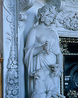 A smiling Ceres, surrounded by the fruits of the earth, beside one of Alnwick's magnificent fireplaces designed by Guiseppe Nucci