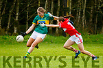 Kerry's Eilish O'Leary under pressure from Corks Mellisa Duggan in the opening round of the Lidl NFL Division1 on Sunday last in Knocknagoshel.
