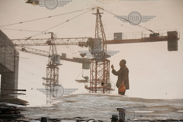 Workers at a construction site in Chongqing.