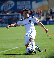 LA Galaxy defender Todd Dunivant (2) slides to save the ball.  The LA Galaxy tied the Chicago Fire 1-1 at Toyota Park in Bridgeview, IL on September 4, 2010