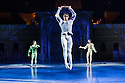London, UK. 10.06.2014. Tamara Rojo and Carlos Acosta, from English National Ballet, in dress rehearsal for ROMEO AND JULIET, in the round, in the Royal Albert Hall. Picture shows: Carlos Acosta (Romeo - centre), Yonah Acosta (Mercutio - left) and Junor Souza (Benvolio - right). Photograph © jane Hobson.