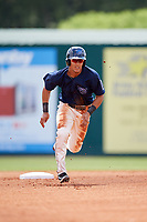 Mobile BayBears center fielder Michael Hermosillo (21) runs to third base during a game against the Pensacola Blue Wahoos on April 26, 2017 at Hank Aaron Stadium in Mobile, Alabama.  Pensacola defeated Mobile 5-3.  (Mike Janes/Four Seam Images)