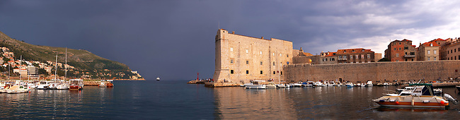 Stock photos of  Dubrovnik Old Town port in a thunder storm - Croatia