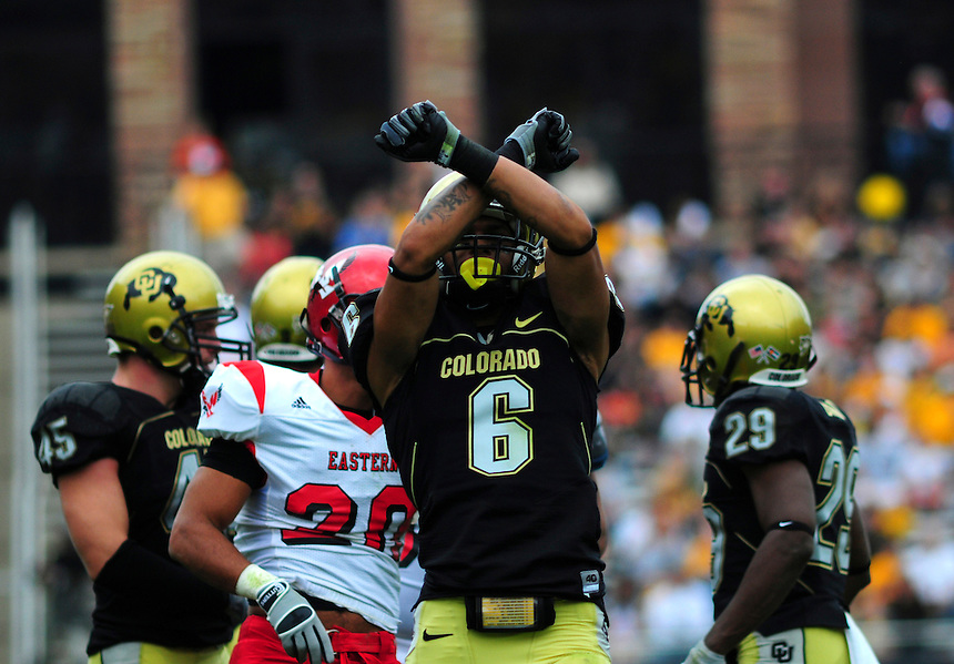 06 September 08: Colorado cornerback Gardner McKay celebrates a big play during a game against Eastern Washington. The Colorado Buffaloes defeated the Eastern Washington Eagles 31-24 at Folsom Field in Boulder, Colorado. FOR EDITORIAL USE ONLY