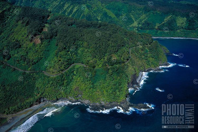 Hana coastline aerial, Maui