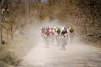 Vegard Stake Laengen (NOR/UAE-Team Emirates) charging from the front on the white dust roads of Tuscany<br /> <br /> 13th Strade Bianche 2019 (1.UWT)<br /> One day race from Siena to Siena (184km)<br /> <br /> ©kramon