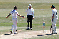 Umpire Nigel Llong sigmals to Luke Fletcher of Notts that he is out, run out at the non-strikers end during Essex CCC vs Nottinghamshire CCC, Specsavers County Championship Division 1 Cricket at The Cloudfm County Ground on 22nd June 2018