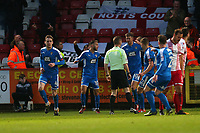 Elliott Hewitt of Notts County (L) scores the first goal for his team and celebrates during Stevenage vs Notts County, Sky Bet EFL League 2 Football at the Lamex Stadium on 11th November 2017