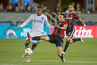 San Jose, CA - Wednesday September 19, 2018: Danny Hoesen, Michael Parkhurst during a Major League Soccer (MLS) match between the San Jose Earthquakes and Atlanta United FC at Avaya Stadium.