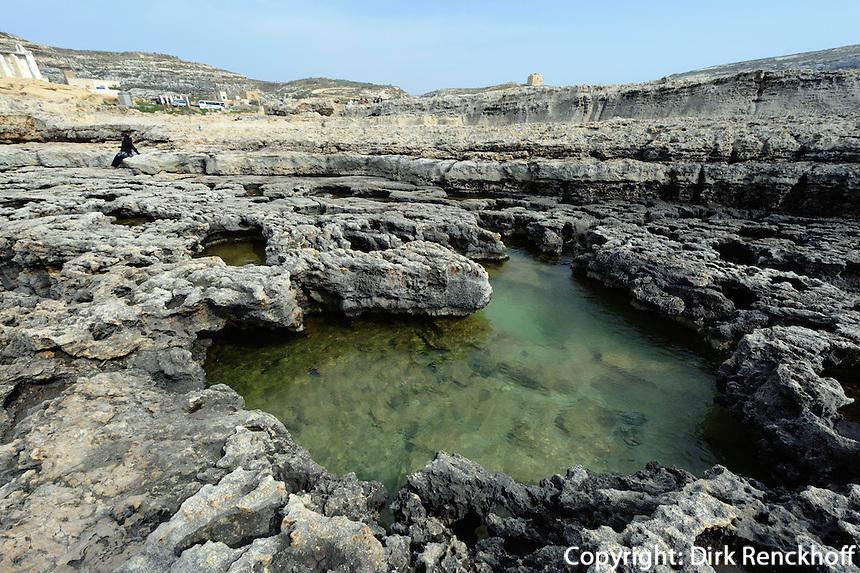 Felsküste in der Dwejra Bay auf Gozo, Malta, Europa