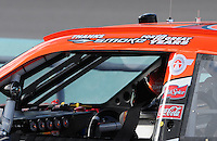 Nov. 14, 2008; Homestead, FL, USA; The roof on the car of NASCAR Sprint Cup Series driver Tony Stewart displays a message in honor of his final race for Joe Gibbs Racing prior to starting his own team during qualifying for the Ford 400 at Homestead Miami Speedway. Mandatory Credit: Mark J. Rebilas-