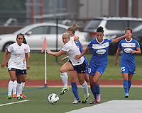 Sky Blue FC defender Kendall Johnson (5) works to clear ball as Boston Breakers defender Maddy Evans (18) and Boston Breakers forward Lianne Sanderson (10) pressure. In a National Women's Soccer League Elite (NWSL) match, Sky Blue FC (white) defeated the Boston Breakers (blue), 3-2, at Dilboy Stadium on June 16, 2013.