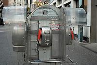 Italian telephone box in street in Mestre, Italy.