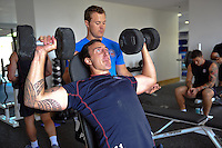 Will Spencer in the gym. Bath Rugby pre-season training on July 16, 2013 at Farleigh House in Bath, England. Photo by: Patrick Khachfe/Onside Images