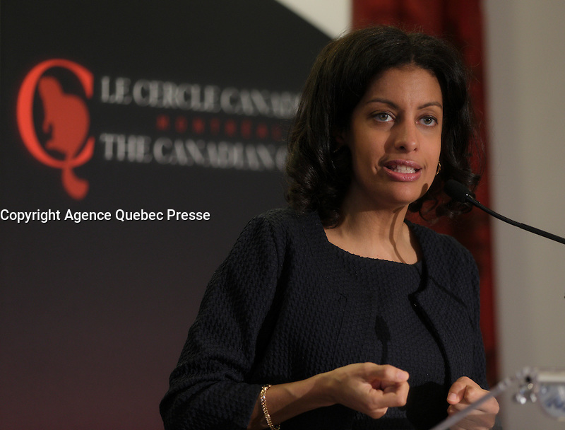 Montreal, CANADA, April 20, 2015.<br /> <br /> Dominique Anglade, President &amp; CEO of Montreal International, deliver a speech to the Canadian Club of Montreal