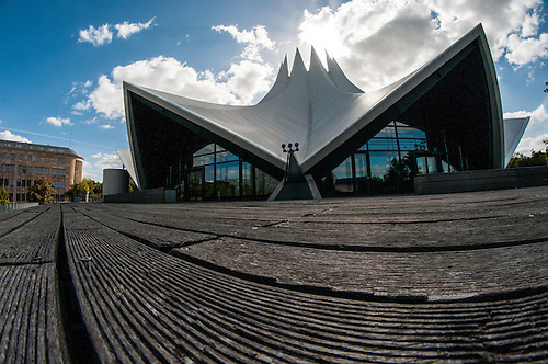 A fish eye view of Berlin<br /> The Tempodrom is an event venue in Berlin. Founded by Irene Moessinger, it opened in 1980 next to the Berlin Wall on the west side of Potsdamer Platz,