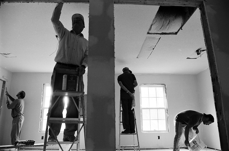 Joint workday at new church (with sponsoring church & Love?s Creek members both).Photo by MJ Sharp (mj@mjsharp.com / 919-270-5930).Story by Barry Yeoman, Indy, 2000