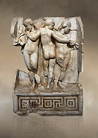 Roman Sebasteion relief  sculpture of the Three Graces, Aphrodisias Museum, Aphrodisias, Turkey.  Against an art background.<br /> <br /> The Three Graces stand in their familiar hellenistic composition. They were handmaids of Aphrodite and appeared in this form on the decoration of her cult statue at Aphrodisias. Their names evoked their character: Euphrosyne (joy), Aglaia (Splendour) and Thaleia (Bloom).