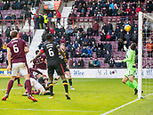 17th March 2018, Tynecastle Park, Edinburgh, Scotland; Scottish Premier League football, Heart of Midlothian versus Partick Thistle;  Jon Souttar of Hearts scores his sides 3rd goal