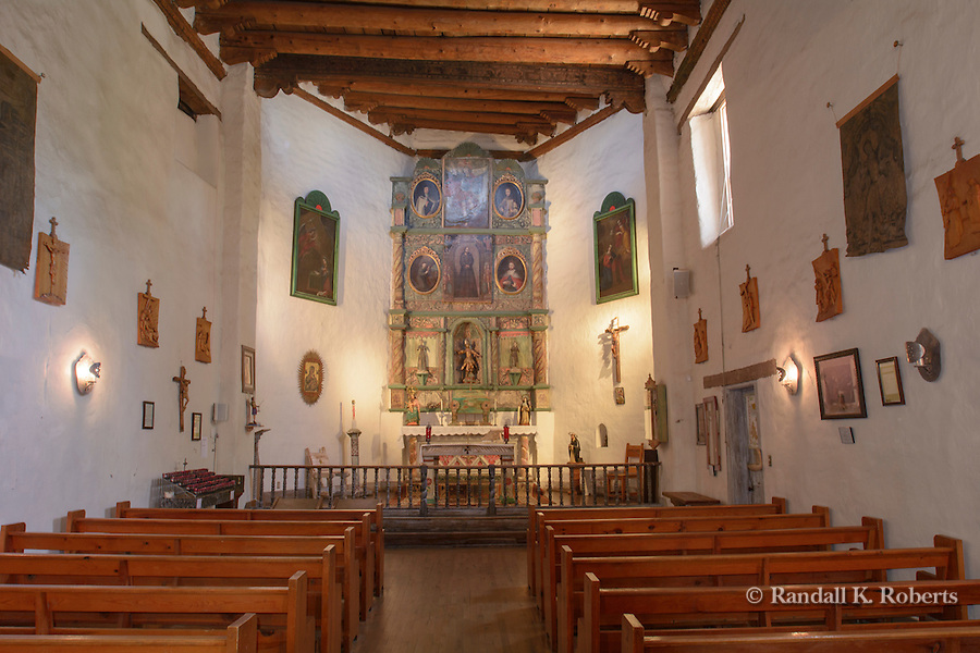 Interior of San Miguel Mission Church, Santa Fe, New Mexico. Built between approximately 1610 and 1626, it is claimed to be the oldest church in the United States.