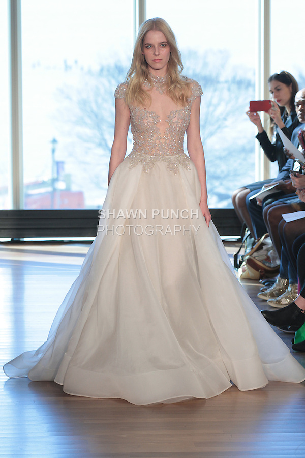 """Model Petra walks runway in a """"Hendrix"""" bridal gown from the Rivini Spring Summer 2017 bridal collection by Rita Vinieris at The Standard Highline Room, during New York Bridal Fashion Week on April 15, 2016."""