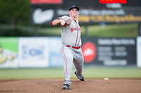 Greenville Drive starting pitcher Jay Groome (28) in action against the Kannapolis Intimidators at Kannapolis Intimidators Stadium on August 7, 2017 in Kannapolis, North Carolina.  The Drive defeated the Intimidators 6-1.  (Brian Westerholt/Four Seam Images)