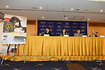 Actress Erika Karata (C-L) and director Ryusuke Hamaguchi (C-R), attend a Q&A for the film ASAKO I & II (Netemo sametemo) at the Foreign Correspondents' Club of Japan on August 29, 2018, Tokyo, Japan. The Japanese romantic drama was selected to compete for the Palme d'Or this year at the Cannes Film Festival. The film will be released in Japan on September 1. (Photo by Rodrigo Reyes Marin/AFLO)