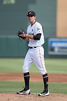 Salt River Rafters relief pitcher Ben Meyer (51) of the Miami Marlins organization, prepares to deliver a pitch to the plate during an Arizona Fall League game against the Mesa Solar Sox on October 30, 2017 at Salt River Fields at Talking Stick in Scottsdale, Arizona. The Solar Sox defeated the Rafters 8-4. (Zachary Lucy/Four Seam Images)
