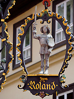 Gastst&auml;tte zum Roland, Breite Star&szlig;e, Quedlinburg, Sachsen-Anhalt, Deutschland, Europa, UNESCO-Weltkulturerbe<br /> Restaurant The Rland in Quedlinburg, Saxony-Anhalt, Germany, Europe, UNESCO World Heritage