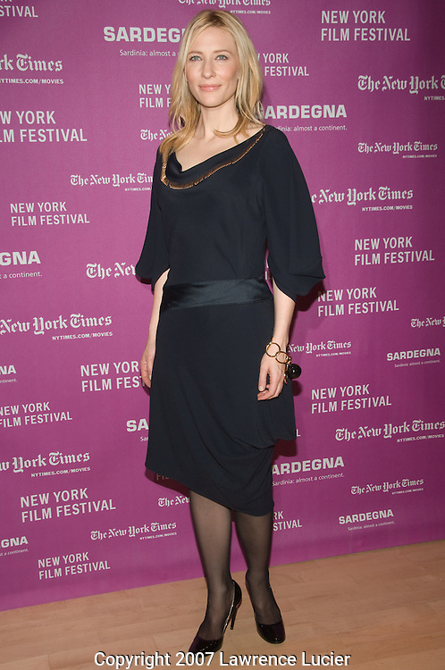 "Actress Cate Blanchett arrives at the screening of ""I'm Not There"" at the New York Film Festival at the Frederick P. Rose Hall in New York City.  (Pictured : Cate Blanchett)."