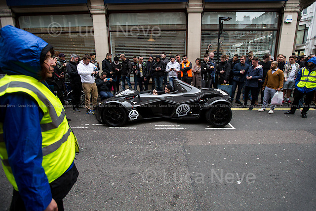 London, 02/05/2016. Today, the Gumball 3000 rally arrived in Central London. The chosen venue for the 18th edition of the notorious and controversial annual British event, in which wealthy people and their really expensive car drive through a continent, was the historic Regent Street, which was shut down since the early morning to host the super cars parade. The participants of the race have driven 3,000 miles (4,800 km) from Dublin to Bucharest (Edinburgh, Manchester, London, Luxembourg, Prague and Budapest) in just seven days. <br /> <br /> For more information please click here: https://www.gumball3000.com/&amp; https://en.wikipedia.org/wiki/Gumball_3000