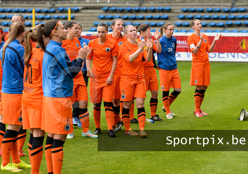 20150514 - BEVEREN , BELGIUM : Brugge's players pictured thanking their fans after the final of the Belgian cup, a soccer women game between SK Lierse Dames and Club Brugge Vrouwen , in stadion Freethiel Beveren , Thursday 14 th May 2015 . PHOTO DAVID CATRY