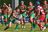 Waiuku Captain Grant Henson takes the ball forward as Osaisi Koloamatangi moves in to make the tackle. Counties Manukau Premier Club Rugby game bewtween Waiuk & Karaka played at Waiuku on Saturday April 11th, 2010..Karaka won the game 24 - 22 after leading 21 - 9 at halftime.