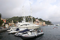 Yachts ormeggiati nel porto di Portofino.<br /> Moored yachts in the harbour of Portofino.<br /> UPDATE IMAGES PRESS/Riccardo De Luca