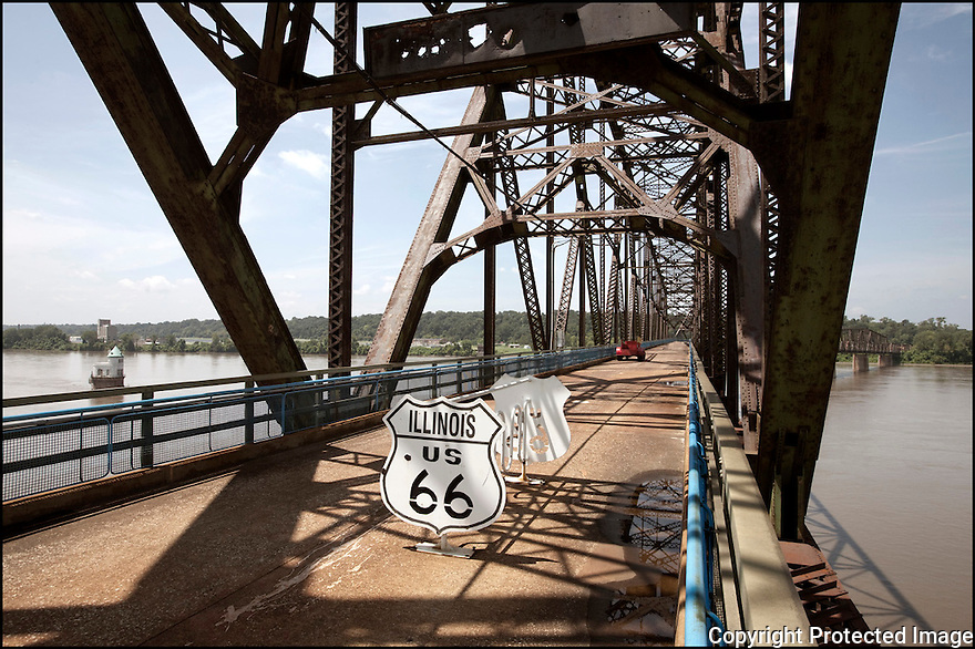 Illinois-Route 66<br /> Le pont Chain of rocks