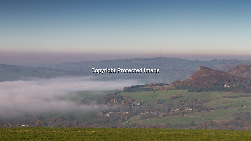02/11/15<br /> <br /> Hen Cloud is one of the first peaks to rise up through this morning's fog in the Staffordshire Peak District near Leek.<br /> <br /> <br /> All Rights Reserved: F Stop Press Ltd. +44(0)1335 418365   www.fstoppress.com.