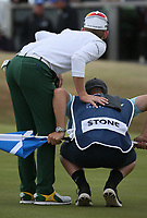 Brandon Stone (RSA) with caddie Teagan Moore during the Final Round of the ASI Scottish Open 2018, at Gullane, East Lothian, Scotland.  15/07/2018. Picture: David Lloyd | Golffile.<br /> <br /> Images must display mandatory copyright credit - (Copyright: David Lloyd | Golffile).