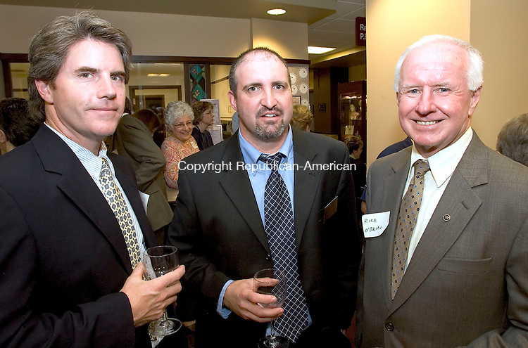WATERBURY, CT--06 JUNE 2006 -060606JS13-Bill Hardy of FIP Construction, Tom Belzek of the Harold Leever Regional Cancer Center, center and Rick O'Brien of Webster Bank at the opening of the new PET/CT diagnostic center at the Harold Leever Regional Cancer Center in Waterbury.   -- Jim Shannon Republican-American
