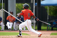 GCL Astros Gerry Castillo (8) at bat during a Gulf Coast League game against the GCL Mets on August 10, 2019 at FITTEAM Ballpark of the Palm Beaches Training Complex in Palm Beach, Florida.  GCL Astros defeated the GCL Mets 8-6.  (Mike Janes/Four Seam Images)