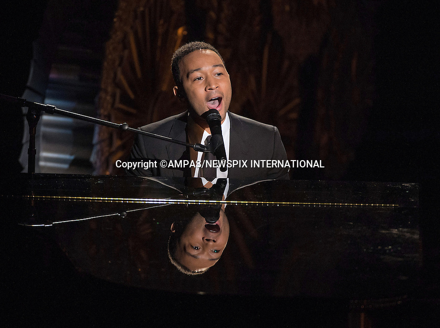 22.02.2015; Hollywood, California: 87TH OSCARS - JOHN LEGEND<br /> performs during the Annual Academy Awards Live Telecast, Dolby Theatre, Hollywood.<br /> Mandatory Photo Credit: NEWSPIX INTERNATIONAL<br /> <br />               **ALL FEES PAYABLE TO: &quot;NEWSPIX INTERNATIONAL&quot;**<br /> <br /> PHOTO CREDIT MANDATORY!!: NEWSPIX INTERNATIONAL(Failure to credit will incur a surcharge of 100% of reproduction fees)<br /> <br /> IMMEDIATE CONFIRMATION OF USAGE REQUIRED:<br /> Newspix International, 31 Chinnery Hill, Bishop's Stortford, ENGLAND CM23 3PS<br /> Tel:+441279 324672  ; Fax: +441279656877<br /> Mobile:  0777568 1153<br /> e-mail: info@newspixinternational.co.uk