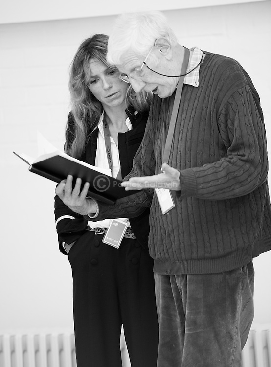 """""""King Lear"""" rehearsed reading rehearsals. Old Vic Theatre. Director: Jonathan Miller. Honeysuckle Weeks, Jonathan Miller."""