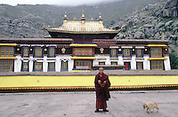 A monk and his dog in front of the Sera Monastery, near Tibet's capital, Lhasa.