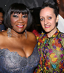 Patti LaBelle and Isabel Toledo backstage after Patti Labelle's debut in 'After Midnight' at the Brooks Atkinson Theatre on June 10, 2014 in New York City.