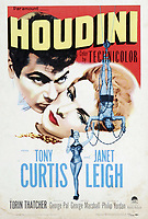 BNPS.co.uk (01202 558833)<br /> Pic: ParamountPictures<br /> <br /> A poster for the 1953 Paramount Pictures film Houdini which featured the crate. <br /> <br /> Harry Houdini's 'trick' steel crate which he used for his daring underwater escapes has emerged for sale for £55,000. ($70,000)<br /> <br /> The illusionist would box himself into the claustrophobic 28ins by 36ins container which he had to get out of and swim to the surface.<br /> <br /> It has a solid lid which was designed to be padlocked to his body, with small holes on each side to let water gush in.<br /> <br /> But all was not as it seemed as the crate actually has a sliding trap door on the bottom he was able to get through.<br /> <br /> This crate, which was used in the 1953 film Houdini starring Tony Curtis, is going under the hammer with auctioneer Bonhams New York.