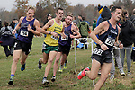 EVANSVILLE, IN - NOVEMBER 18: Nick Lawson (256) of the University of Sioux Falls and Jared Ozee (195) of Missouri Southern University compete in the Division II Men's Cross Country Championship held at the Angel Mounds on November 18, 2017 in Evansville, Indiana. (Photo by Tim Broekema/NCAA Photos/NCAA Photos via Getty Images)