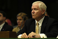 Secretary of Defense Robert M. Gates listens to a senator's question while testifying before the Senate Appropriations Committee in Washington, D.C., on Feb. 27, 2007.  Gates, Secretary of State Condoleezza Rice and Chairman of the Joint Chiefs of Staff Gen. Peter Pace, U.S. Marine Corps, testified about the additional funding requested for Iraq and Afghanistan.  DoD photo by Staff Sgt. D. Myles Cullen, U.S. Air Force.  (Released)