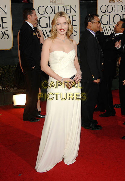 KATE WINSLET.Red Carpet Arrivals - 64th Annual Golden Globe Awards, Beverly Hills HIlton, Beverly Hills, California, USA, January 15th 2007..globes full length white cream strapless dress red lipstick clutch bag purse.CAP/PL.©Phil Loftus/Capital Pictures