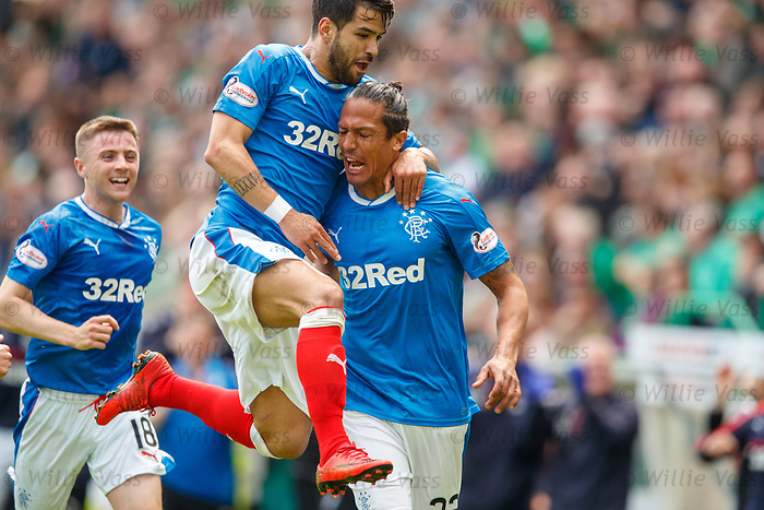 13.05.2018 Hibs v Rangers: Daniel Candeias and Jordan Rossiter celebrate with Bruno Alves